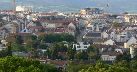 schonbrunn : Panoramic view of the city of Vienna from Schonbrunn hills during sunset time. Stock Footage