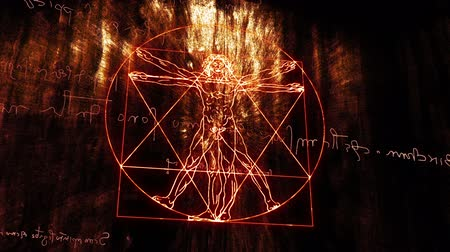 This animation is inspired by Leonardo Da Vincis The Vitruvian Man - Vitruvius and mirror writing  Handdrawn animation moving in 3D space Stock Footage