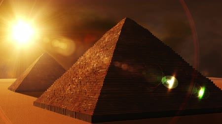 piramit : Egyptian Pyramids in the sunset  Realistic 3D render and clouds footage