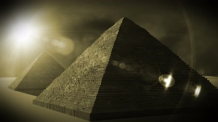 Egyptian Pyramids in the sunset  Realistic 3D render and clouds footage