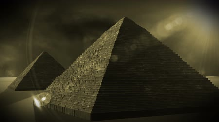 bohyně : Egyptian Pyramids in the sunset  Realistic 3D render and clouds footage