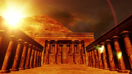 древний : Egyptian Shrine with Pyramid in the sunset  Realistic 3D render and clouds footage