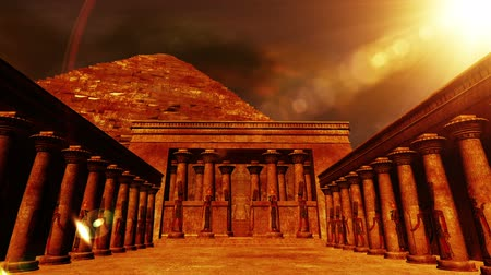faraon : Egyptian Shrine with Pyramid in the sunset  Realistic 3D render and clouds footage