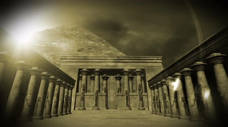 bohyně : Egyptian Shrine with Pyramid in the sunset  Realistic 3D render and clouds footage