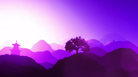 tündér : Magical Oriental Sunset over Mountains  Leaves on hillside plants and tree are moving due to slight breeze but in the low-res preview you cant see that well.