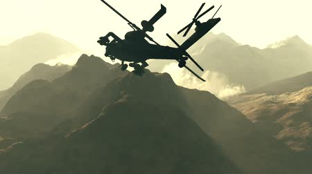 united states : Apache AH-64D attacking helicopters in action  Realistic 3D render