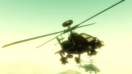 copter : Apache AH-64D attacking helicopters in action  Realistic 3D render Special camera view