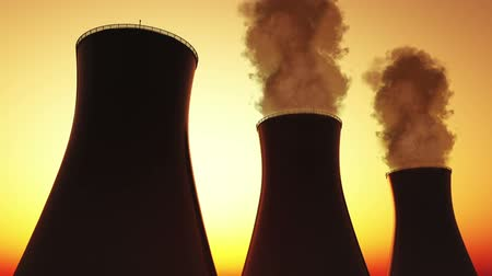elektrownia : Nuclear Power Plant and Cooling Towers sunset Wideo