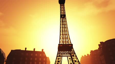 башни : Sunset in Paris 3D animation