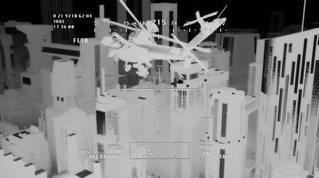 akció : Apache AH-64D attacking helicopters in action  Simulating nightvision   Realistic 3D render