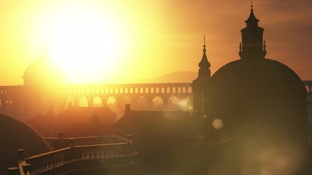 sunset city : Sunset in Rome 3D animation