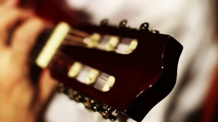 headstock : Musician and Acoustic Guitar playing Stock Footage