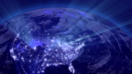 балки : Earth from Space Lightstreaks over USA view from outer space Satellite point of view Стоковые видеозаписи
