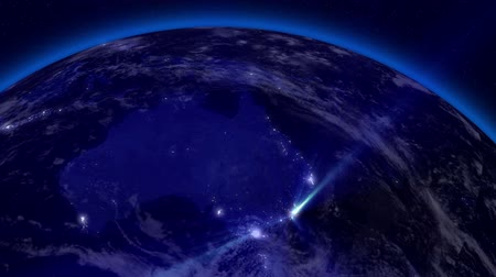 brazília : Earth from Space Lightstreaks over Australia view from outer space Satellite point of view Stock mozgókép
