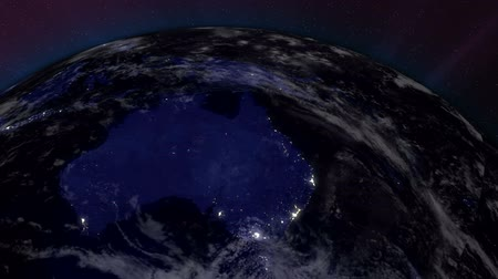 балки : Earth from Space Lightstreaks over Australia view from outer space Satellite point of view Стоковые видеозаписи