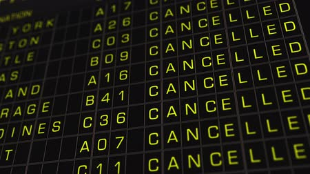 departure : US Domestic Airport Timetable All Flights Cancelled  Stock Footage