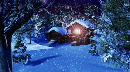 santa : Christmas Snowy Scene 3D animation Dolly Motion Stock Footage