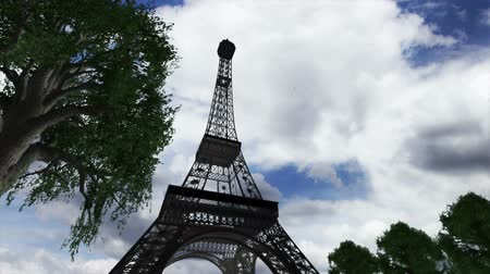 francja : Eiffel Tower Clouds Timelapse  3D render scene composited with real clouds timelapse. Wideo
