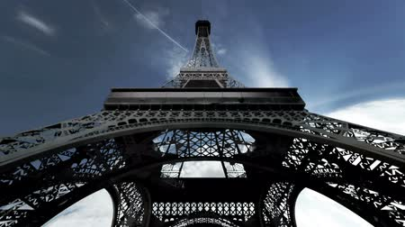 башни : Eiffel Tower Clouds Timelapse  3D render scene composited with real clouds timelapse. Стоковые видеозаписи