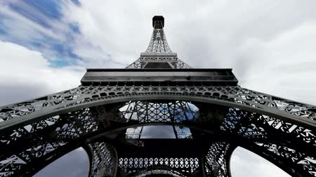 paříž : Eiffel Tower Clouds Timelapse - fisheye  3D render scene composited with real clouds timelapse.