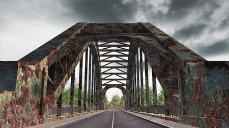 paslanmış : Rusty Bridge Clouds Timelapse  Realistic 3D scene composited with real clouds timelapse. Stok Video