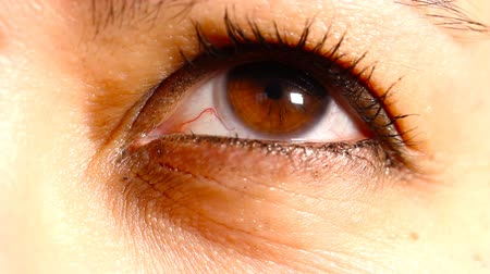 kontakt : Caucasian Women Eye with Contact Lens macro shot