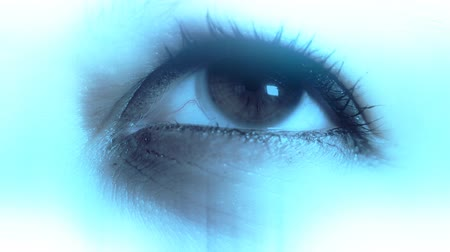 soczewki kontaktowe : Caucasian Women Eye with Contact Lens macro shot