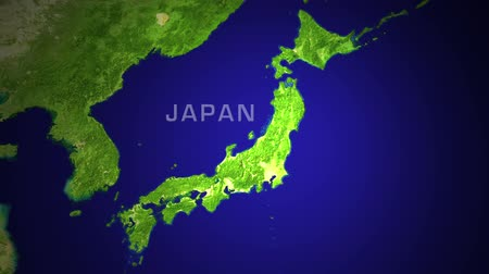 japan : Japan major cities animation with flickering light effect..