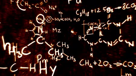 fizik : Chemistry formulas and symbols floating in 3D space with a cool design.