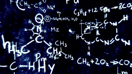 chemia : Chemistry formulas and symbols floating in 3D space with a cool design.