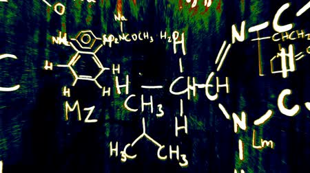 chemistry : Chemistry formulas and symbols floating in 3D space with a cool design.