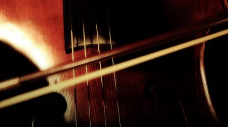 cselló : Cellist is tuning the instrument.ARTCOLORED.  ver01= Hair of the bow hanging.  Stock mozgókép