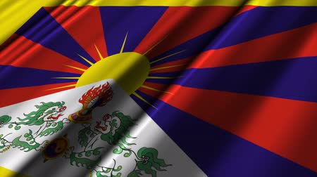 tybet : Flag of Tibet. Wideo