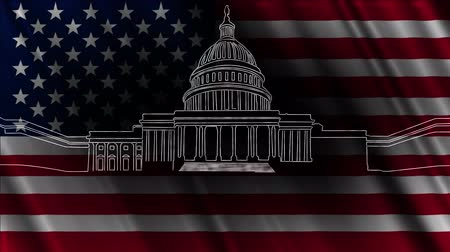 capitolium : Capitol Building Washington DC  handdrawn design. Stock Footage