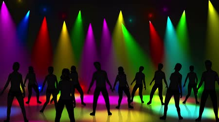 Пол : Disco Stage Dancers on the Dance Floor Colorful Vivid Lights Flashing Стоковые видеозаписи