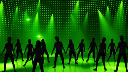 disko : Disco Stage Dancers on the Dance Floor Colorful Vivid Lights Flashing Stok Video