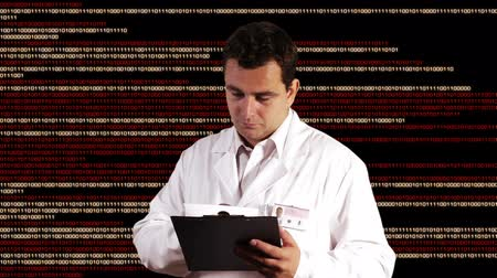 tudományos : Scientist Checking Documents Binary Numbers Background