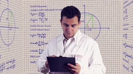 tudományos : Scientist Checking Documents Scientific Mathematics Background