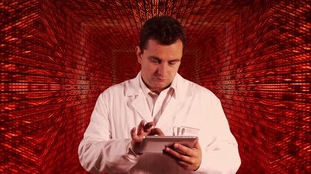 opieka : Scientist using Tablet PC Decimal Numbers Tunnel Background Wideo