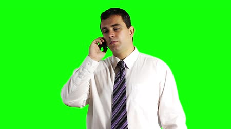 krawat : Young Businessman Tablet PC and Cell Phone Greenscreen Wideo