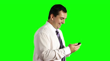 текст : Young Businessman Touchscreen Getting Good News Phone Greenscreen Стоковые видеозаписи