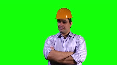 helmets : Young Engineer Virtual Table Happy Touchscreen Greenscreen Stock Footage