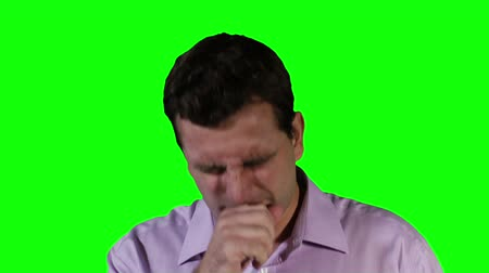 tosse : Young Man Coughing Hard GreenScreen Vídeos
