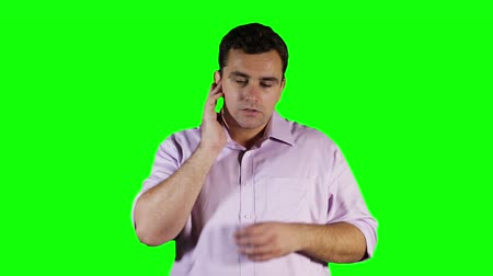 ear infection : Young Man Hurting Ears GreenScreen