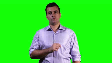 schermen : Young Man Touchscreen Greenscreen