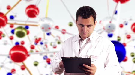 examinar : Young Scientist Documents Molecules Background Stock Footage