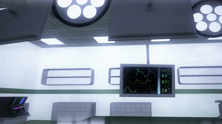rpm : High Tech Operation Room Hospital Interior - EKG monitor Stock Footage