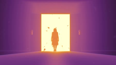 fantasma : Mysterious Door to Heaven | New Opportunity - Yurei Japanese Ghost shape appear Stock Footage