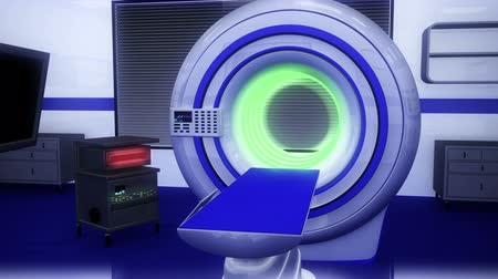 tomograph : High Tech Operation Room Hospital Interior - MRI CT machine Stock Footage