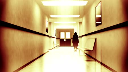 assombro : Scary Hospital Corridor Horror Thriller Scene - Yurei Japanese Style Ghost Appear Stock Footage